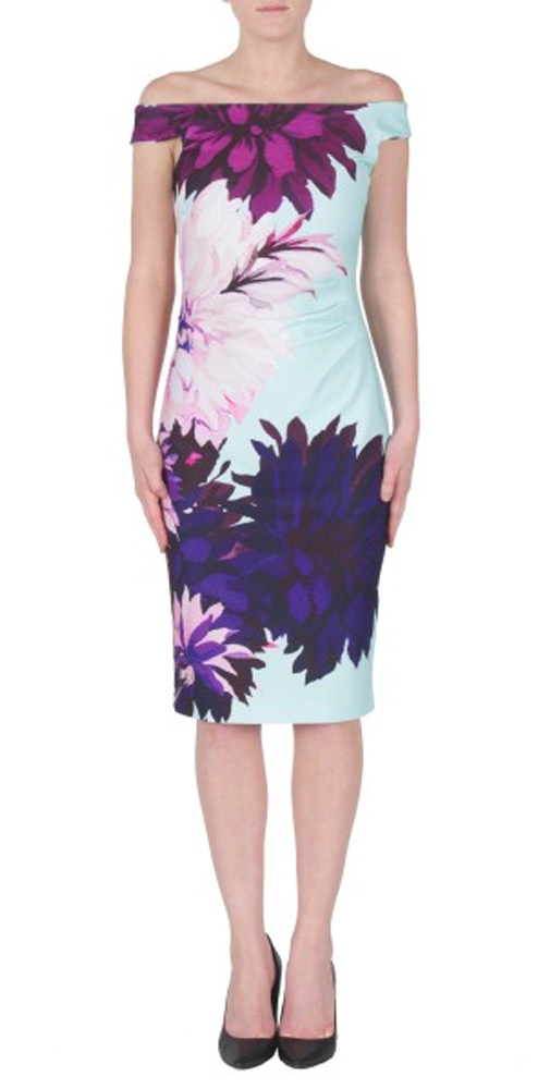 Joseph Ribkoff Off Shoulder Bold Floral Spring Dress