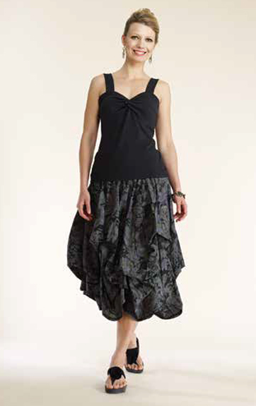 Luna Luz Garment Dyed Sweetheart Tank and Overdy Print Skirt with Interior Ties