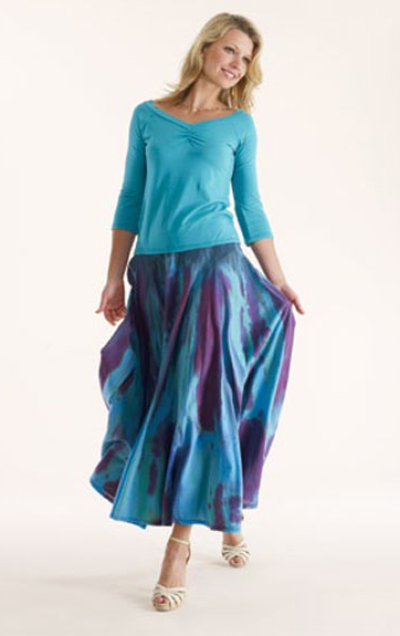 Luna Luz Garment Dyed Ruched Top and Feather Dyed Skirt with Interior Ties