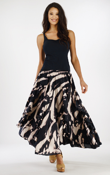 Luna Luz Garment Dyed Sweetheart Tank and Rain Forest Ruffled Skirt