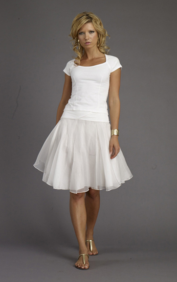 Luna Luz Garment Dyed Cap Sleeve Top and Silk Organza Two Layer Swing Skirt