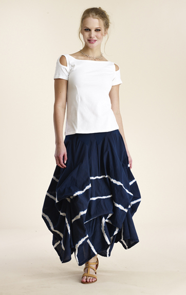 Luna Luz Garment Dyed Open Sleeve Tee and Half Circle Skirt with Interior Ties