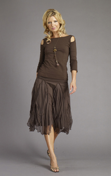 Luna Luz Garment Dyed Open Sleeve top and Silk Organza Godet Skirt
