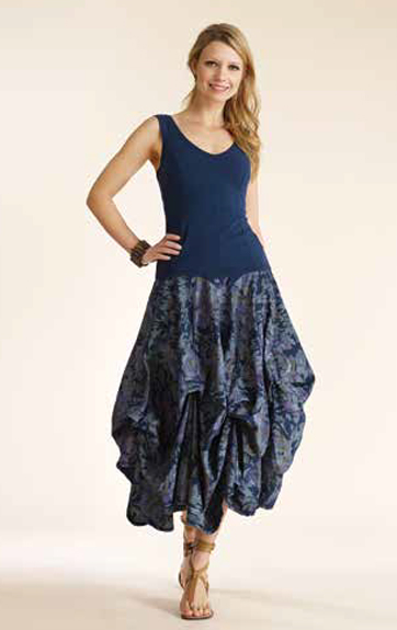 Luna Luz Garment Dyed V Neck Tank and Overdye Print Skirt with Interior Ties