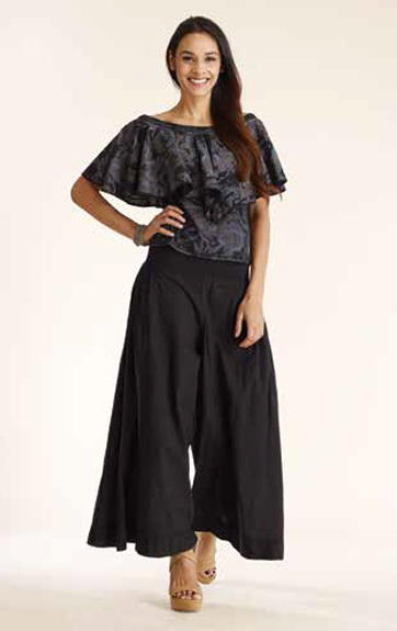 Luna Luz Overdye Print Ruffled Top and Gamment Dyed Wide Leg ant