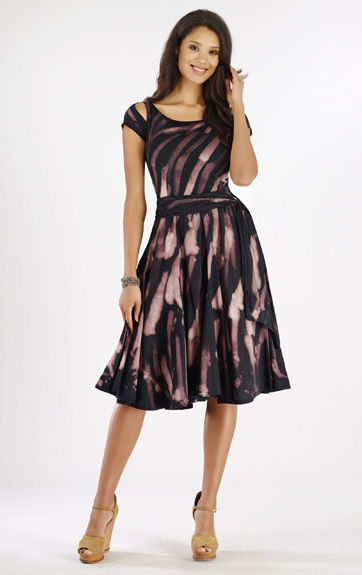Luna Luz Rain Forest Gored Dress with Cut Out Sleeves