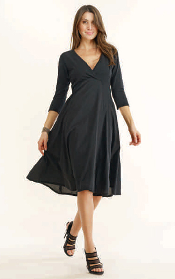 Luna Luz Garment Dyed Long Sleeve V Neck Dress