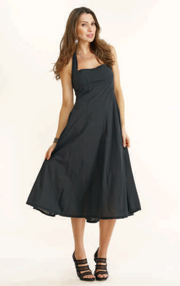 Luna Luz Garment Dyed Halter Dress with Curved Seam Skirt