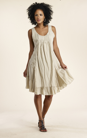 Luna Luz Pin Tucked Cotton Dress