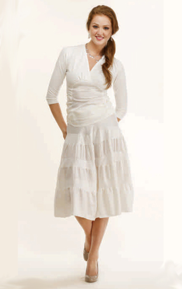 Luna Luz Cotton Silk and Cotton Lycra Top and Tiered Skirt