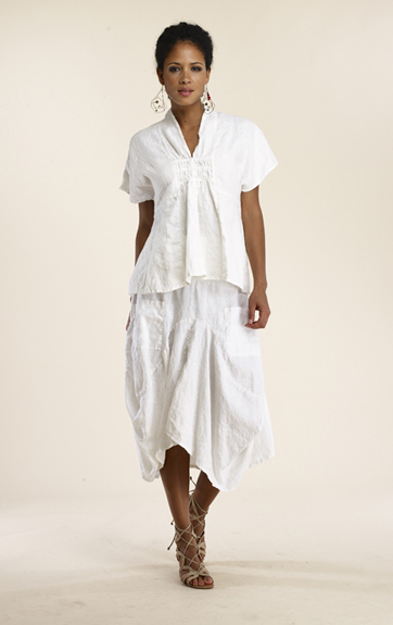 Luna Luz Garment Dyed Linen Drop Sleeve Top and Skirt
