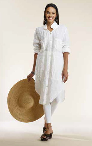 Luna Luz Garment Dyed Linen Gauze Shirt Dress