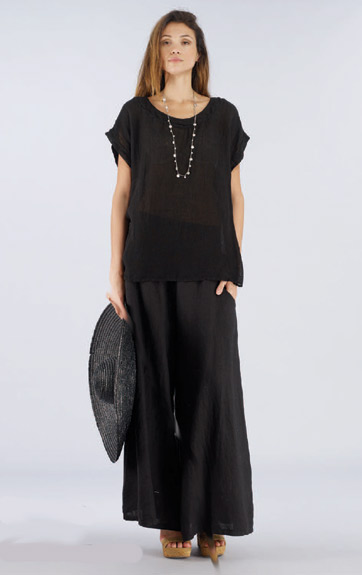 Luna Luz Garment Dyed Lien Gauze Cap Sleeve Tunic and Linen Pant