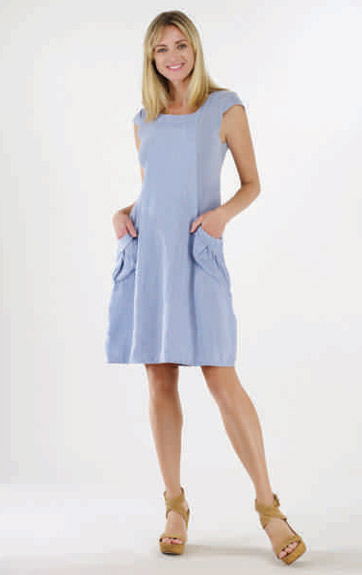 Luna Luz Garment Dyed Linen and Rib Cap Sleeve Dress