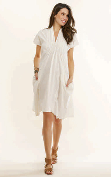 Luna Luz Garment Dyed Linen Smock Collar Dress