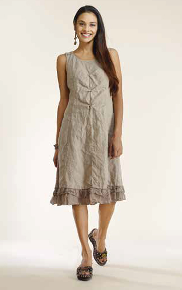 Luna Luz Garment Dyed Linen A Line Dress