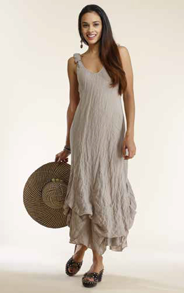 Luna Luz Linen Gauze Bias Tank Dress