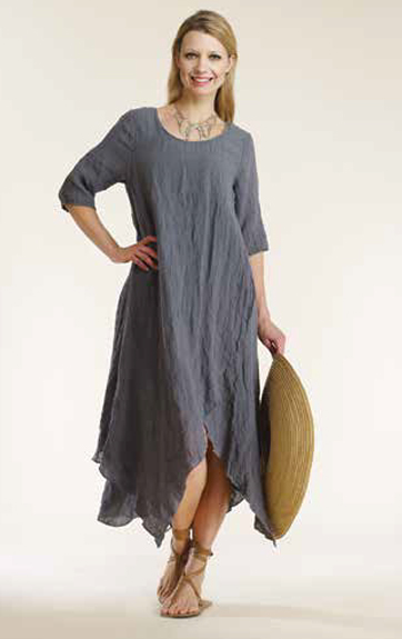 Luna Luz Garment Dyed Linen Gauze Swing Dress