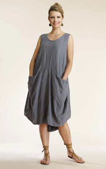 Luna uz Garment Dyed Linen Two Pocket Tank Dress