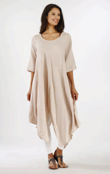 Luna Luz Garment Dyed Linen Scoop Neck Tunic