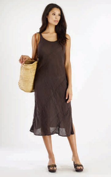 Luna Luz Garment Dyed Linen Gauze Bias Tank Dress