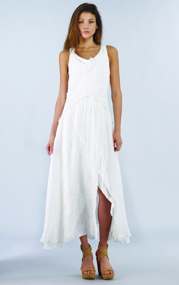 Luna Luz Garment Dyed Linen Gauze Tiered Tank Dress