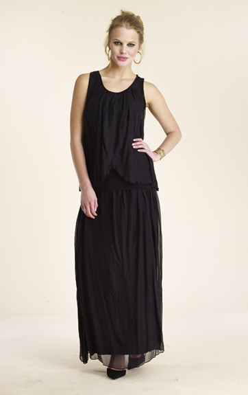 Luna Luz Silk Double Panel Tank Top and Silk Skirt