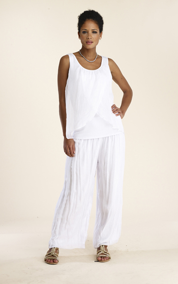 Luna Luz Silk Double Panel Tank Top. Style 900. $99 and Silk Pant