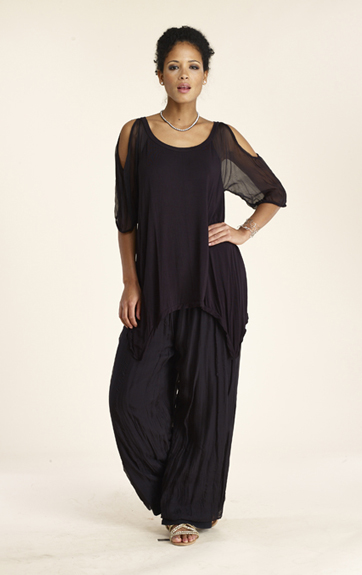 Luna Luz Silk Col Shoulder Top and Silk Pant