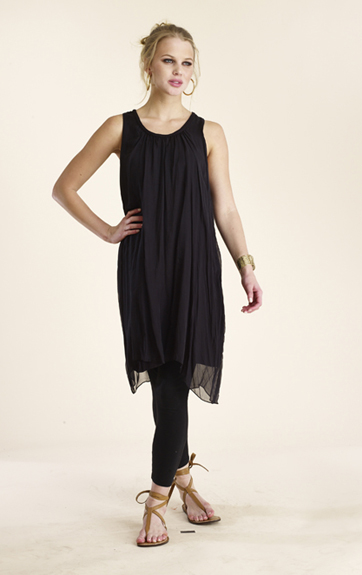 Luna Liuz Silk Dress with Braided Trim