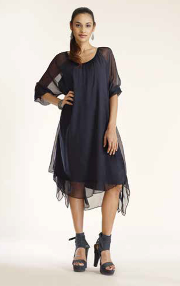Luna Luz Silk Dress with Handkerchief Hem