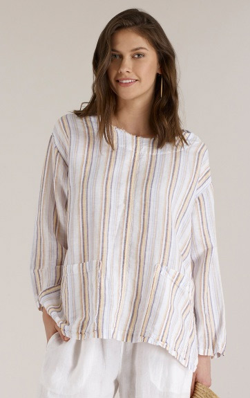 Luna Luz Multi Stripe Linen Cotton Loose Fit Tunic