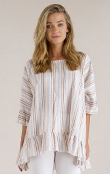 Luna Luz Multi Stripe Linen Cotton Ruffled Top