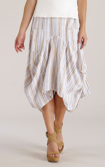 Luna Luz Multi Stripe Linen Cotton Skirt with Side Pockets