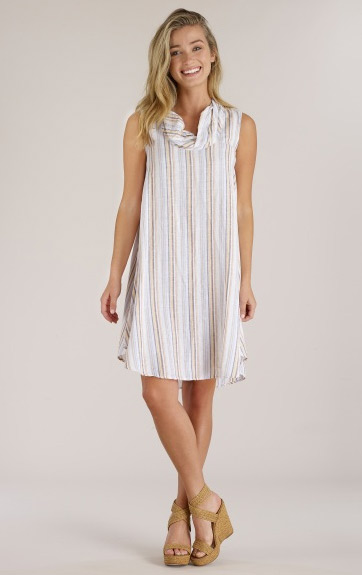 Luna Luz Multi Stripe Linen Cotton Cowl Neck Dress
