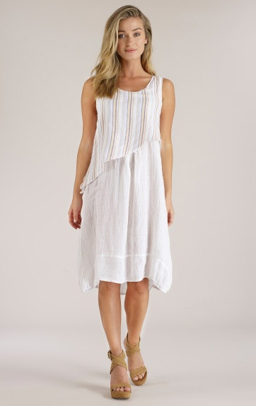 Luna Luz Multi Stripe Linen Cottn Angled Crop Top Dress