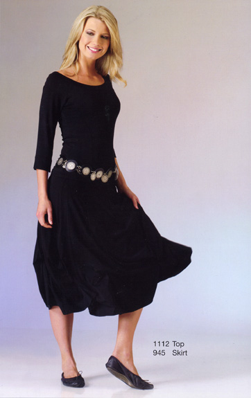 Luna Luz Matte Jersy Off Shoulder Top and Short Godet Skirt with Ties