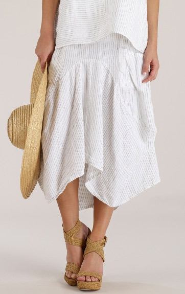 Luna Luz Woven Stripe Skirt with Side Pockets