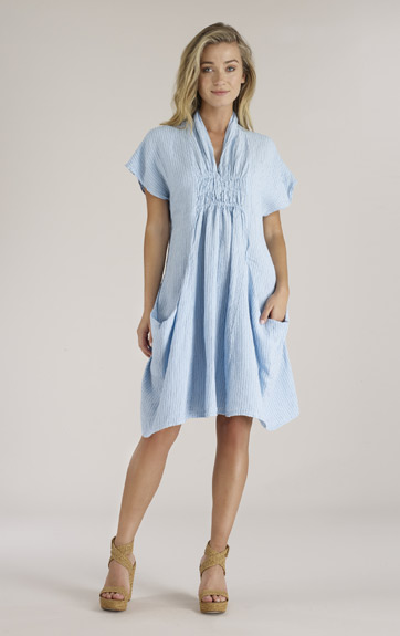 Luna Luz Woven Lien Stripe Smock Collar Dress