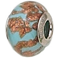 Zable Blue Copper Murano Glass Bead