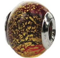 Zable Red Gold Murano Glass Bead