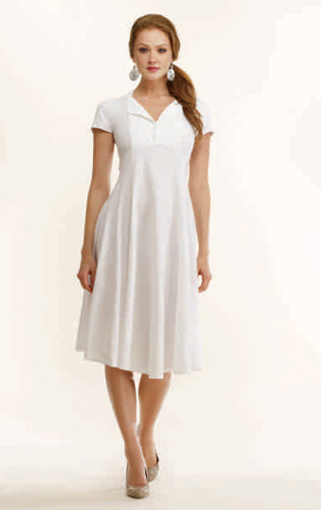 Luna Luz Garment Dyed Short Sleeve Fold Back Collar Dress