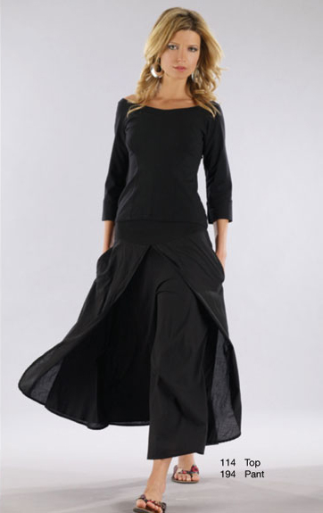 Luna Luz Garment Dyed Off Shoulder Top and Wide Leg Pants with Skirt Panels