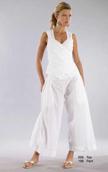 Luna Luz Garment Dyed Wrap Sleeveless Top and Wide Leg Pant