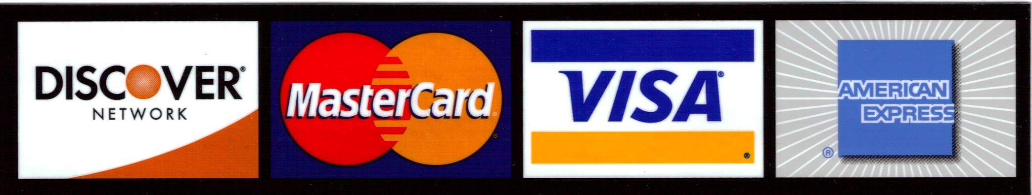 We accept MasterCard, VISA, Discover and American Express